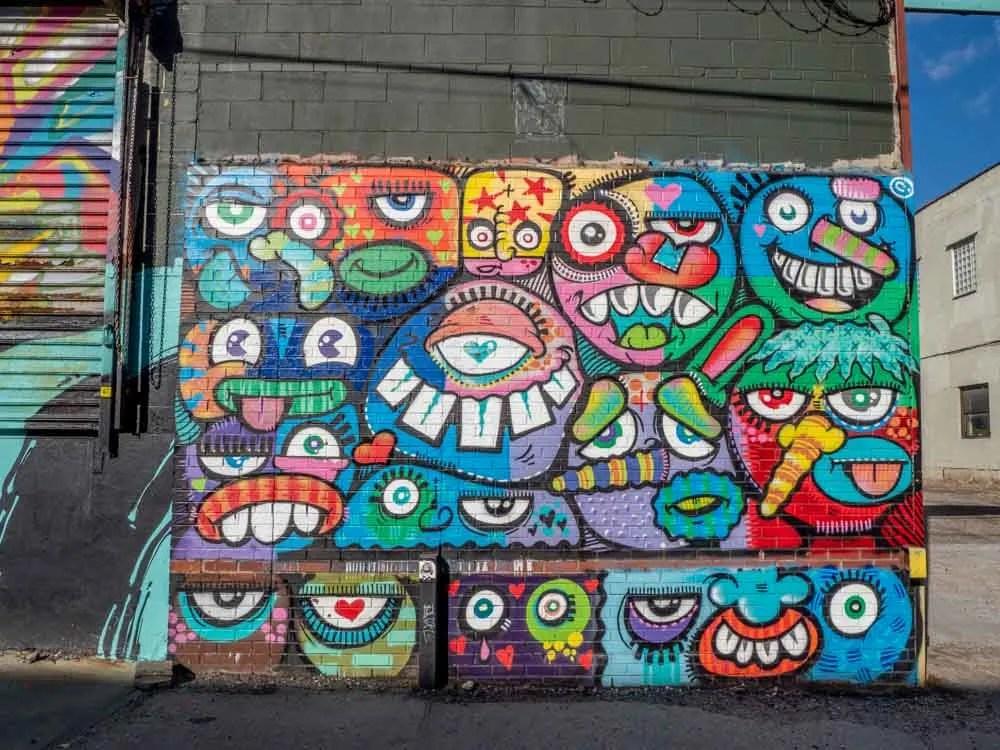 Street artist Phetus monsters in Brooklyn