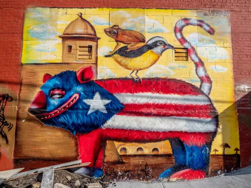 Brooklyn street art mural Puero Rican pinata by MrBbaby