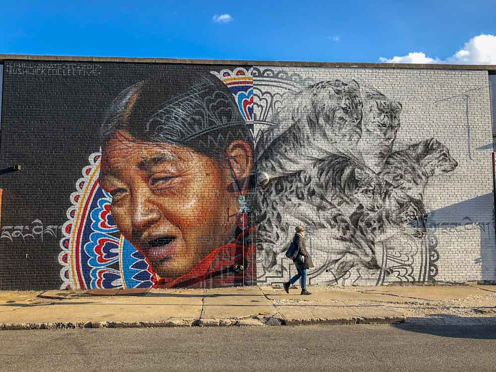 Bushwick mural: Tibetan snow leopard by Matt Adnate & Aaron Li Hill