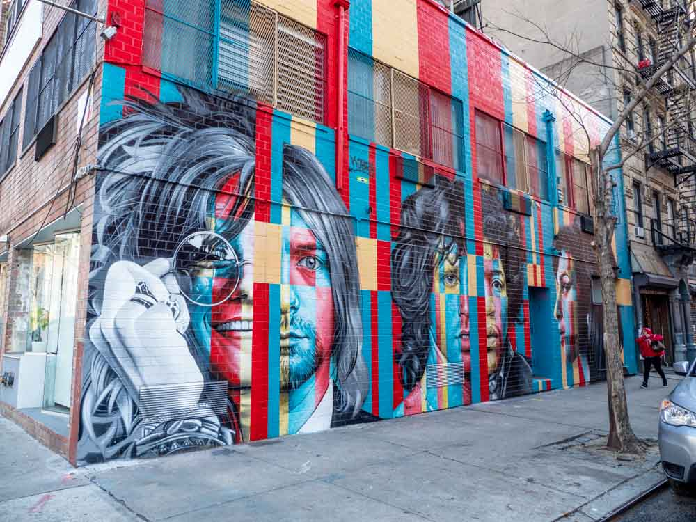 treet art NYC: Kobra mural in SoHo with Kurt Cobain, Amy Winehouse and other dead rockers