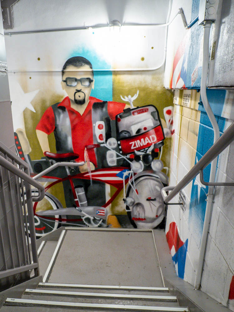 Zimad mural on Puerto Rico at the MOSA stairwell