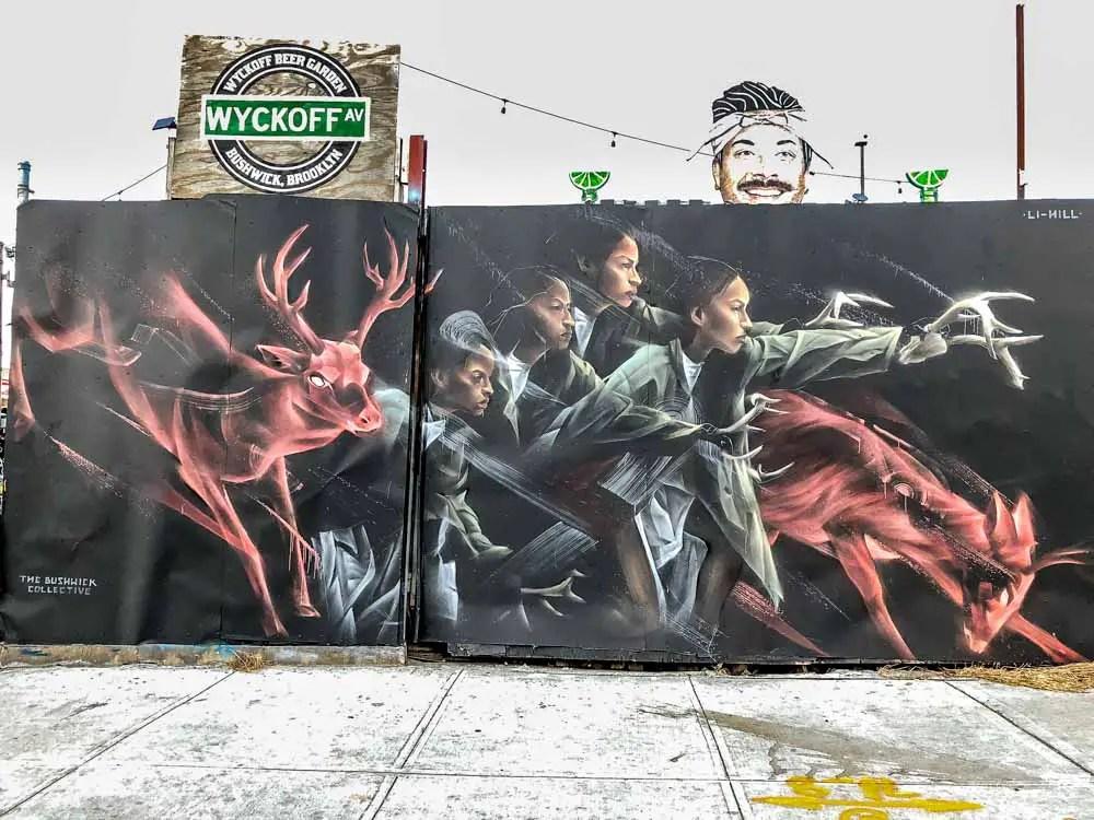 NYC Mural in Bushwich: Stags by Li Hill