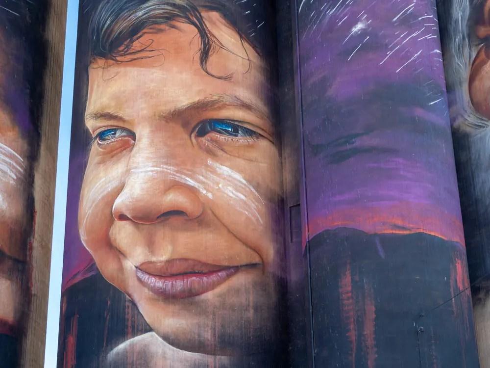 Silo Art Trail Victoria Australia. Adnate mural of a Aboriginal boy