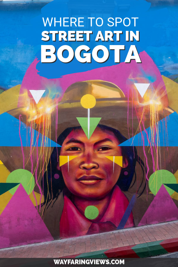 Where to spot street art in Bogota- mural of indigenous person by Guache