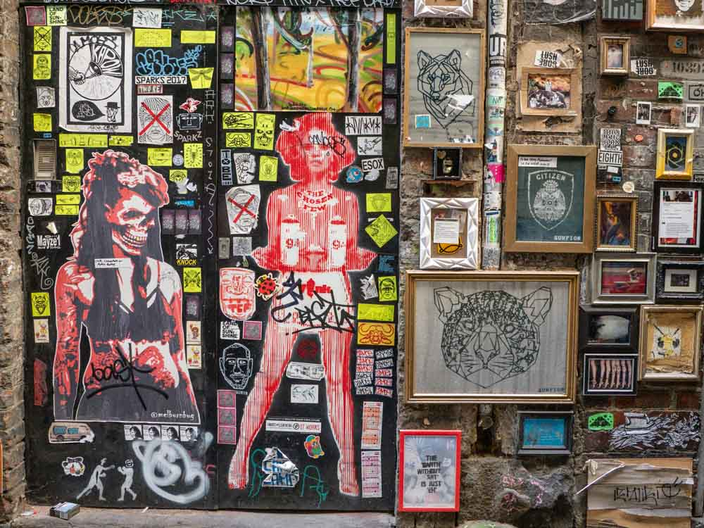 Melbourne street art: Stickers and Framed prints in Presgrave Place