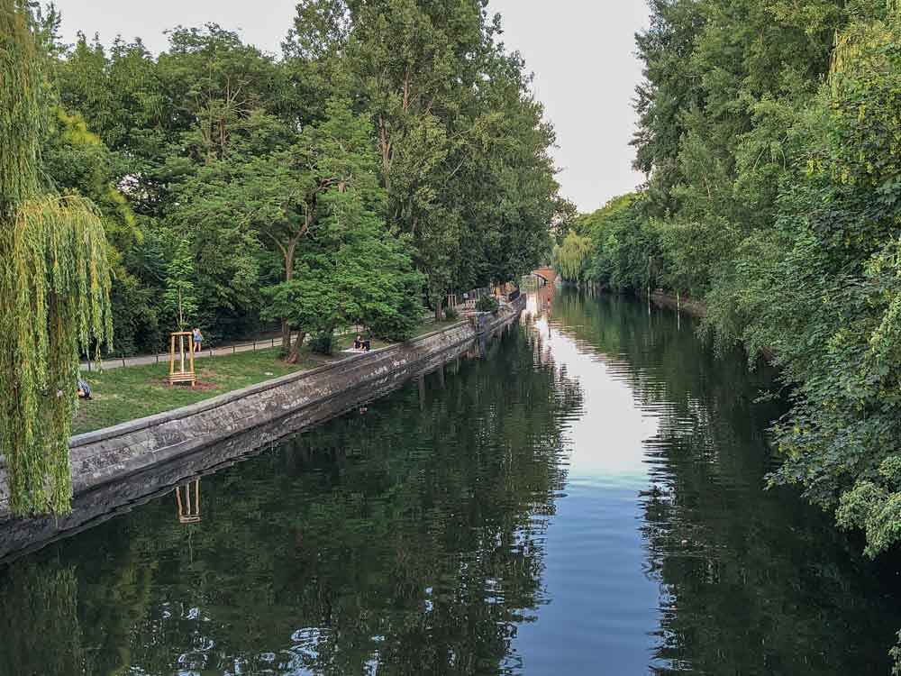 Berlin Germany's Landwehr Canal in the summer with trees