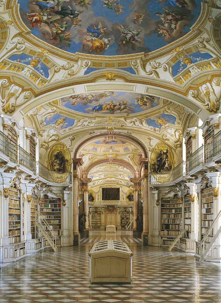 Austria Stiftsbibliothek Admont monestary library. Domed ceiling and bookshelves