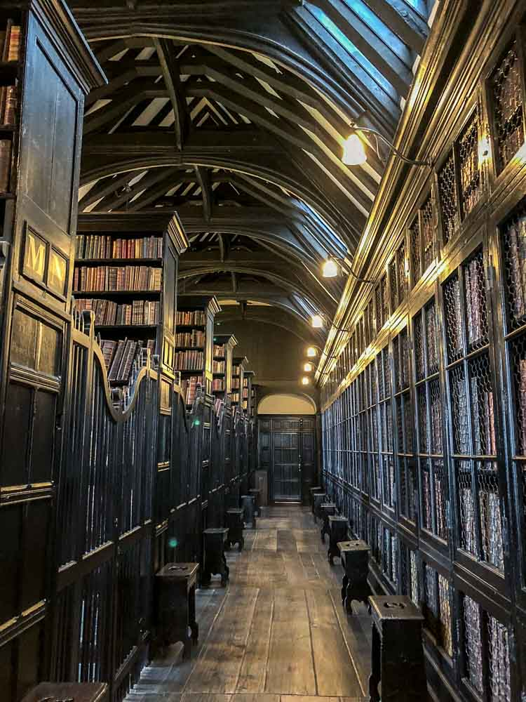 Manchester England Chethems library room. Old bookshelves and benches