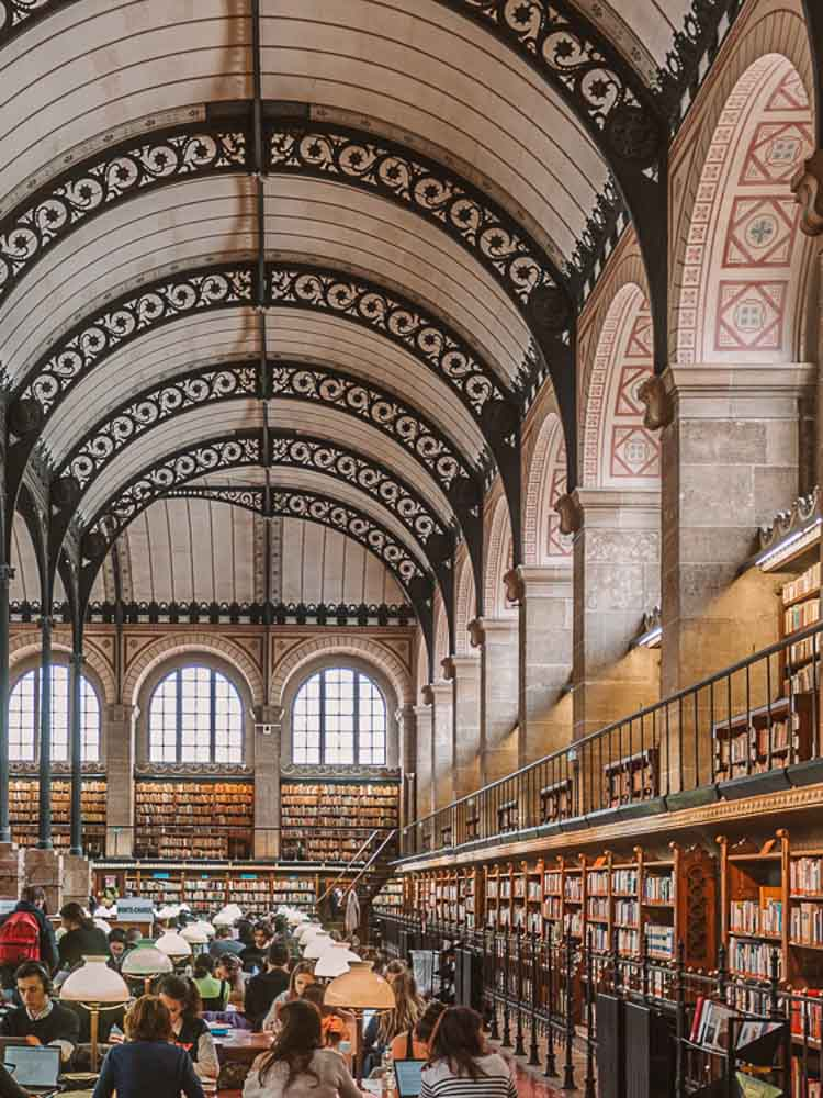 paris Sainte Genevieve library. Arched hall with bookshelves and work tables