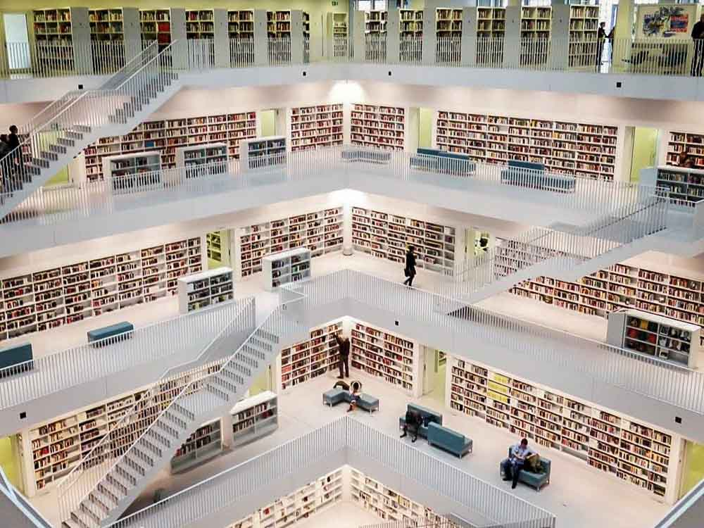 Stuttgart City Library in Germany. While walls and bookshelves