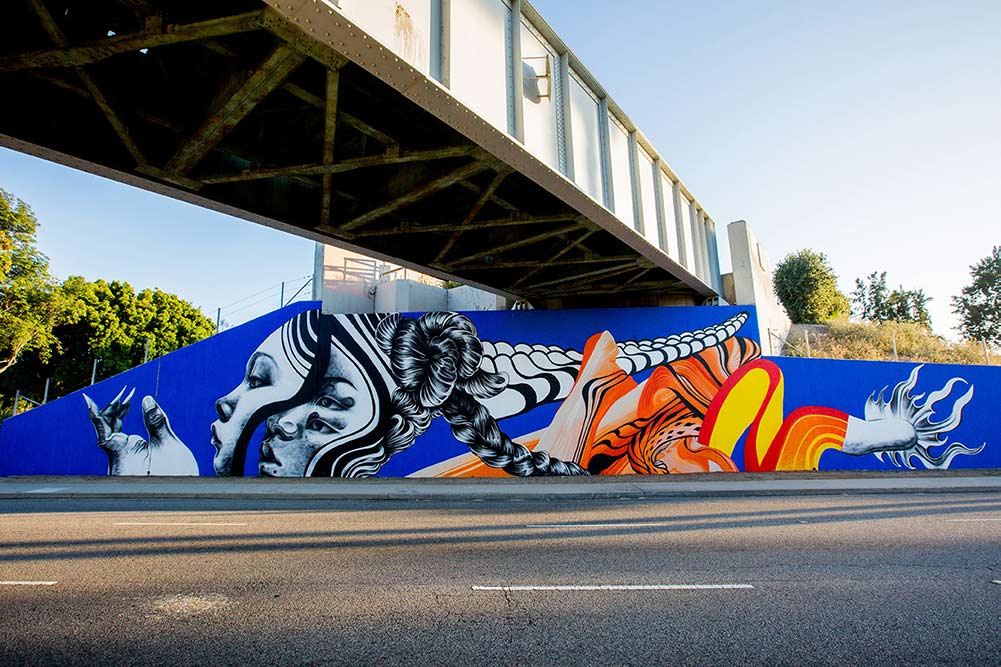 Pow Wow street art festival Long Beach Caratoes mural