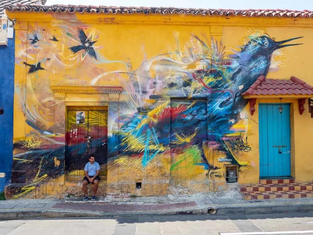 Cartagena Getsemani bird mural by yuricamdc