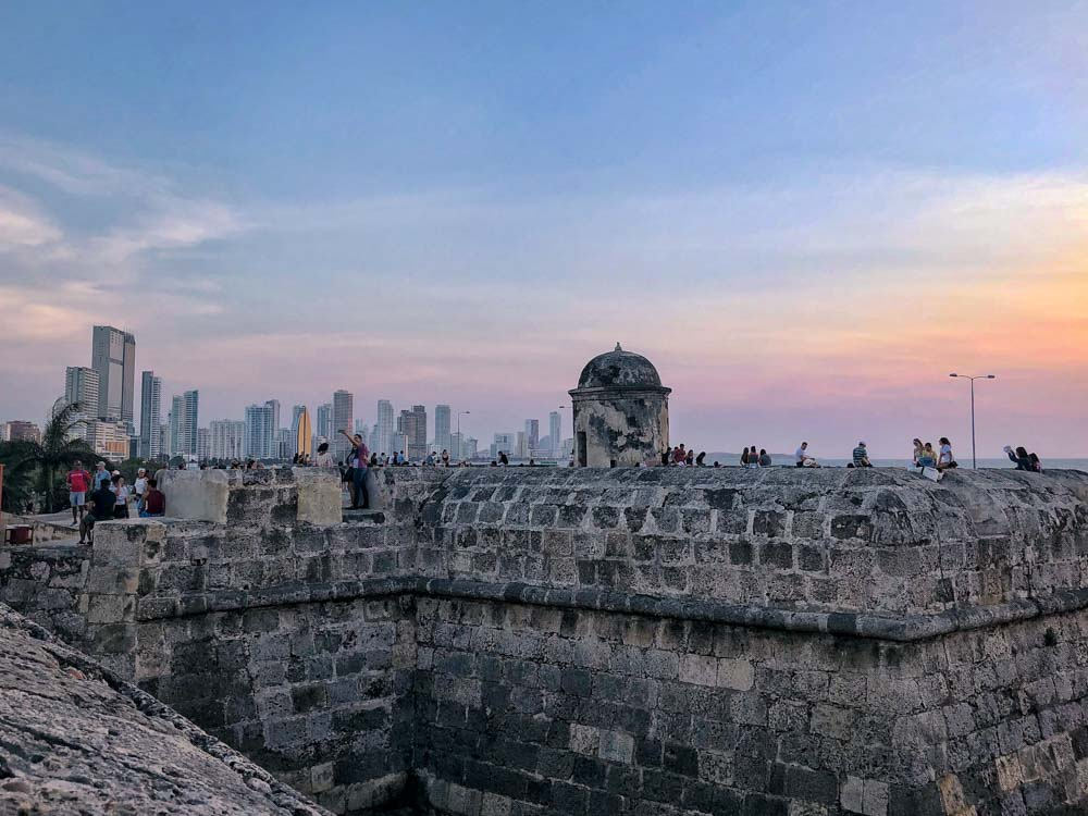 Cartagena Colombia sunset on the town wall