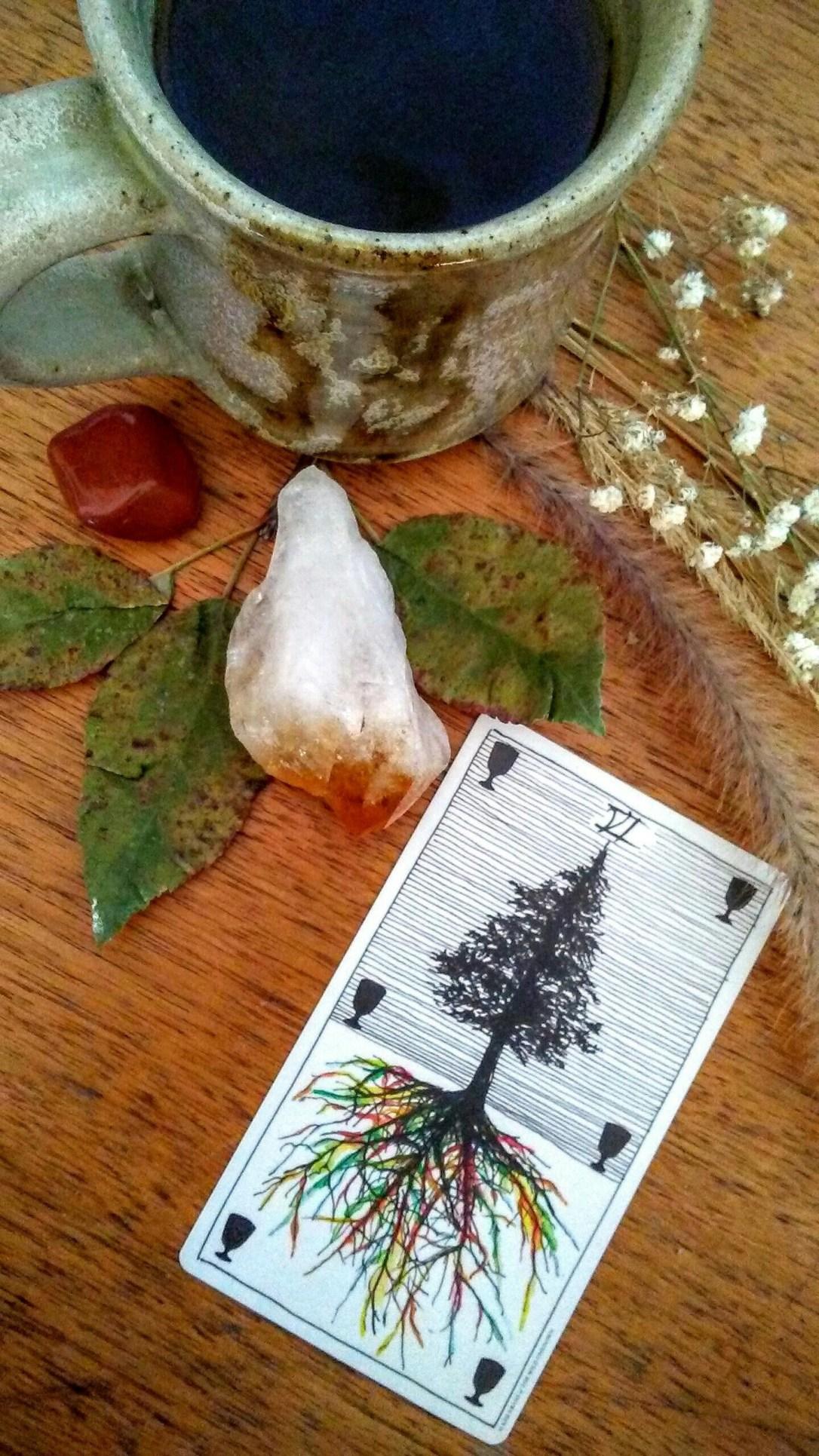 Tarot card on altar with crystal, stone, herbs, tea