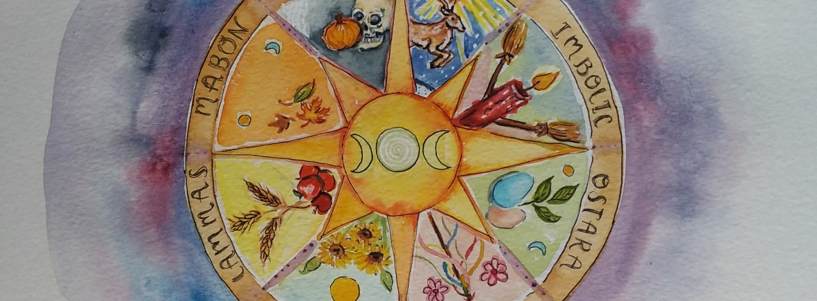 watercolor painting of the pagan wheel of the year