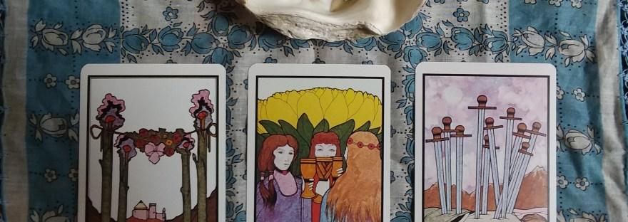 The tarot cards and burning herbs