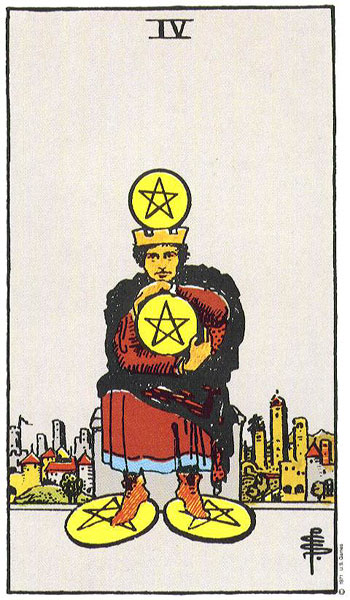 Rider Waite Tarot - The Four of Pentacles
