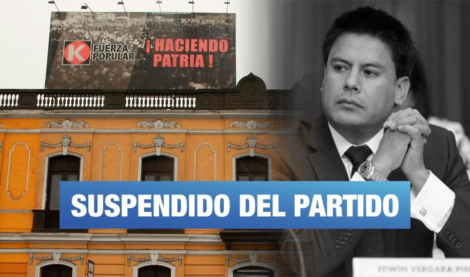 Edwin Vergara es suspendido de Fuerza Popular por vinculación con narcotraficantes colombianos