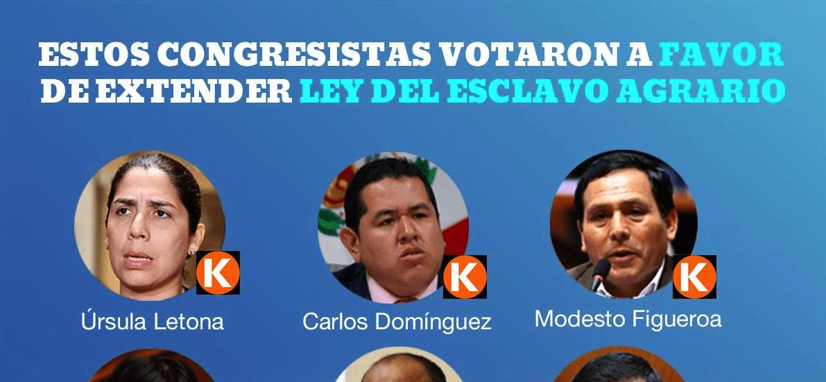 Estos son los congresistas que apoyan la #LeyDelEsclavoAgrario