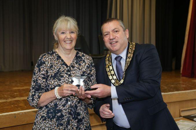 Sylvia Welsh receiving her award from Cllr Stan Hebborn, Mayor of Watton