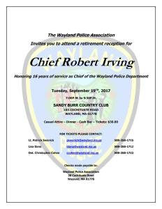Retirement Reception for Chief Irving @ Sandy Burr Country Club   Wayland   Massachusetts   United States