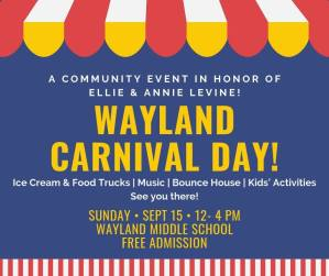 Wayland Carnival Day in honor of Ellie & Annie Levine @ Wayland Middle School