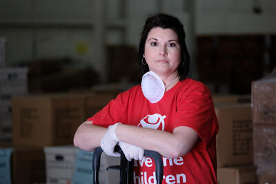 Save the Children Kentucky Deputy Director Stephanie Lakes on Friday, April 3, 2020 at their distribution warehouse in Kentucky. Save the Children is distributing essential materials to children across rural America as they adjust to coronavirus related school closures making sure children are able to continue to learn while they're home from school.