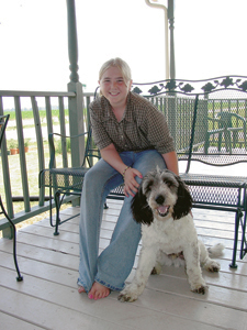 """Super Star 4-Her, Janeen Baxter with her dog, """"Harry"""". 4-H Dog Show was held on Saturday, July 13th. Janeen's other projects include Woodworking, Crafts, and Collections."""