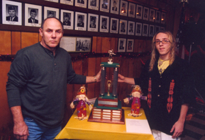On October 27, 2002 American Legion Post #296, Tillman Road, saw 2 of their members take home the 4th District Pool Tournament trophy (1st time since 1993). Post #499, Hilegas Road, was host to the October tournament which saw 22 teams compete. The father-son team of Duane and Devin DuMont were the winners. Duane is a Post #296 Legion member and Devin is a S.A.L. member. The first place trophy is on display at the post until the November tournament at the Monroeville Post #420.