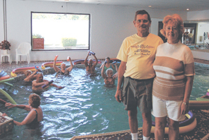 Dan and Bonnie Gage are the new owners of Star Health & Fitness.  In the pool is the Aquatic Class lead by instructor Lorraine Leary.