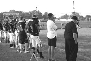Bishop Luers' Friday night football opener against Snider High School, August 19, 2011. Emeritus Bishop John D'Arcy cheering on the Knights to a victory with a final score 32-21.