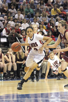 Lady Knights battle in State Finals, Photo by Joni Kuhn