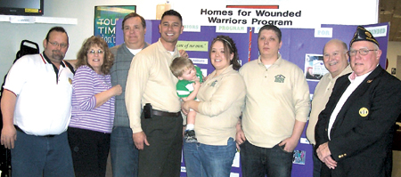 From left to right:  Mike Shuler (241 S.A.L. Commander), Diana West (241 Aux. President), Al White (Nappanee Legion Commander), Markus Trouerbach (President & founder of H.W.W.P.), Joel, Sarah, & SPC Matthew Moeller, Dave Stephens, & Ken Holloway (241 Legion Commander).