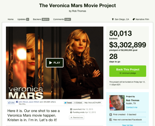 Veronica Mars movie image courtesy of Suzanne Scott