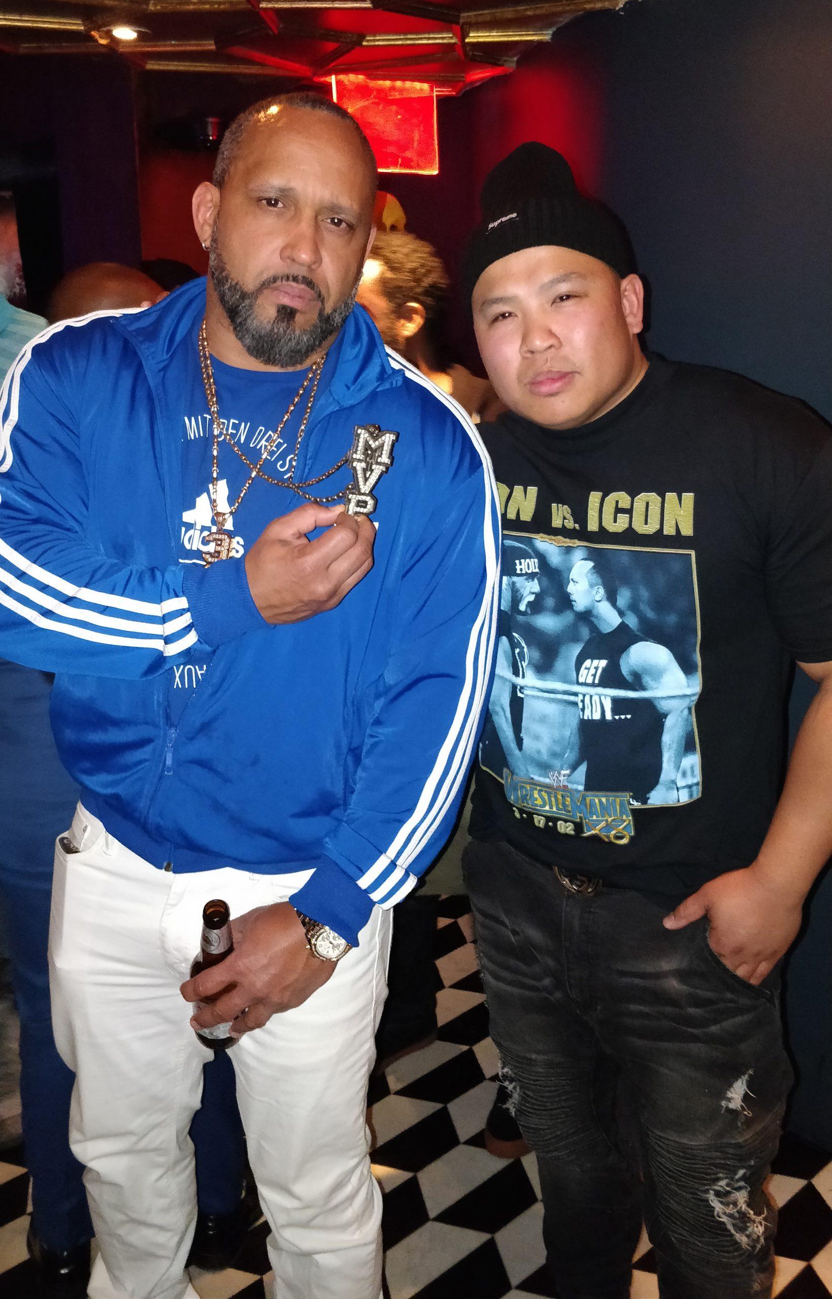 Wayne Lapasa ith pro wrestler M.V.P. at WaleMania V inside Sony Hall
