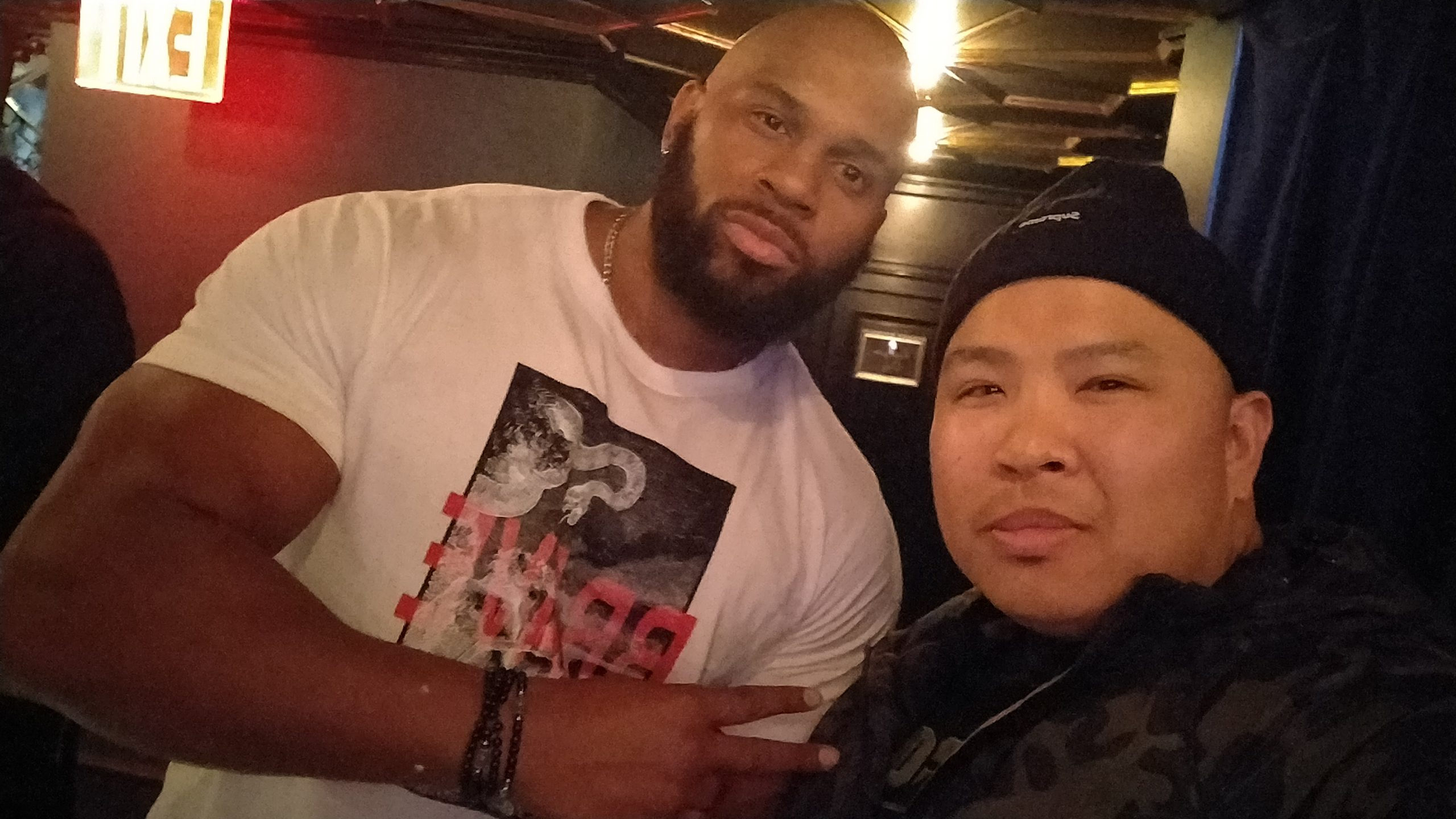 Wayne Lapasa with pro wrestler Shad Gaspard of CrymeTime at WaleMania V in Sony Hall