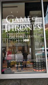 Game of Thrones pop up shop at HBO store on Michigan avenue.