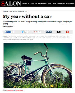 Screenshot from My Year Without a Car at Salon.com