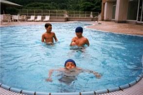 Boys in roof top pool