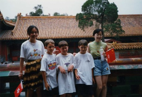 Boys with Chinese tourists
