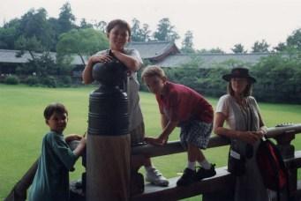 Climbing the railing at Nara