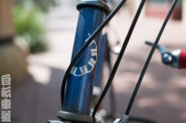 1990s Georgena Terry women's-specific bicycle. Head tube detail.