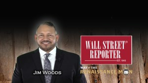 Jim Woods media appearance with wall street reporter with way of the renaissance man logo nad wall street reporter logo