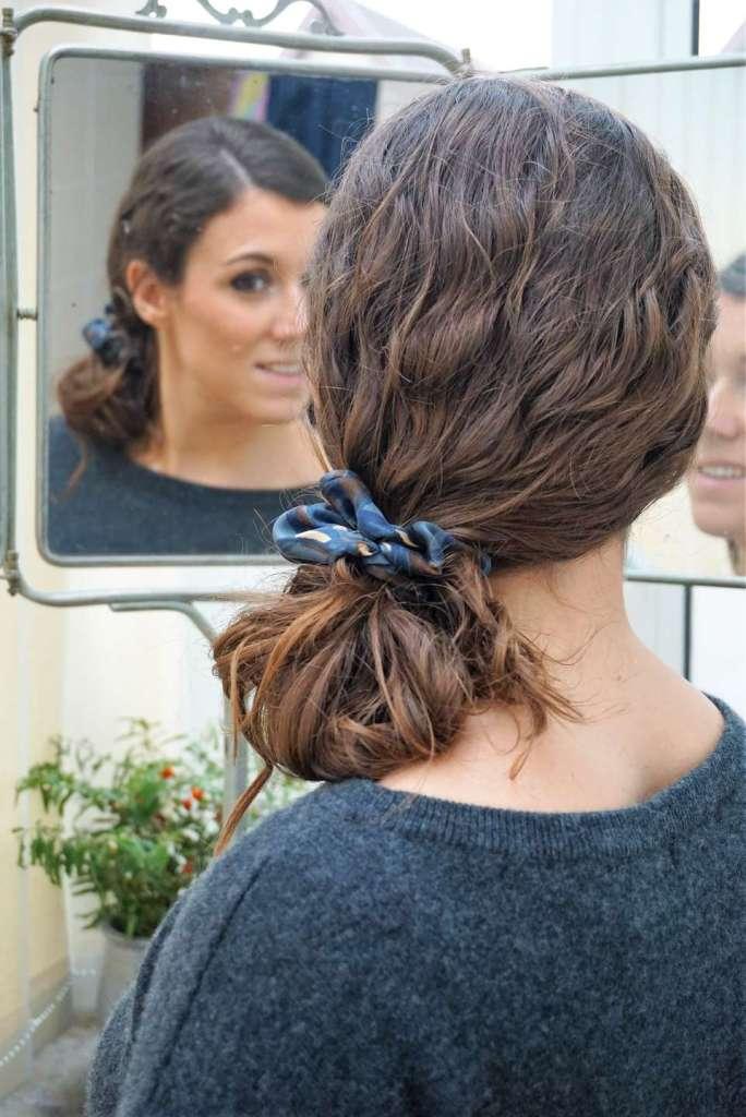 coiffure chignon bas miroir