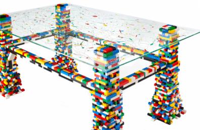 Wayome Upcycling Table en Lego table basse en verre lego