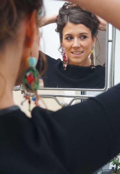 Wayome Upcycling Boucles d'oreilles en canevas cheveux releves miroir face