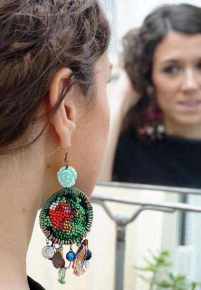 Wayome Upcycling Boucles d'oreilles en canevas profil droit miroir