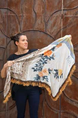 Wayome Upcycling foulard paille soleil entier cote pile droite