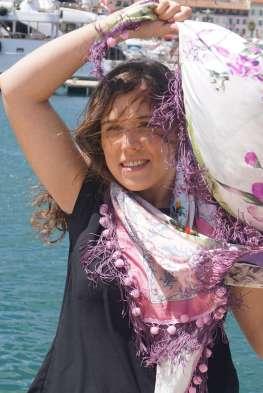 Wayome Upcycling foulard rose et violet mer vent