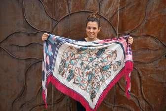 Wayome Upcycling foulard rose fushia droit cote pile